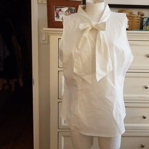 NEW YORK & CO WHITE BLOUSE WITH TIE SZ XL NWT